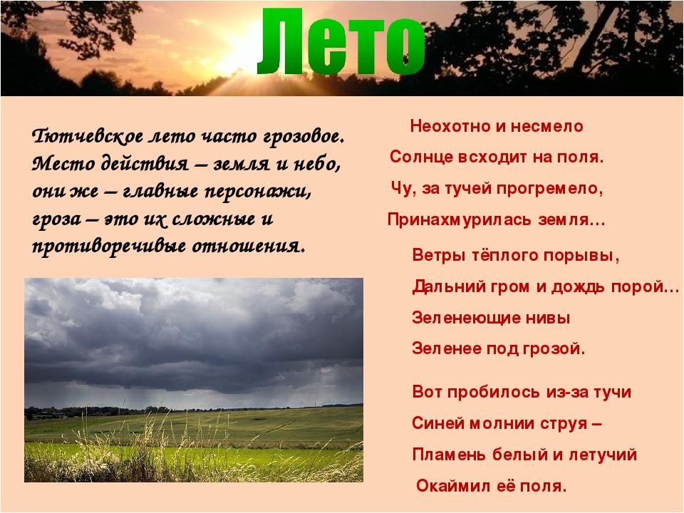 Тютчевское лето часто грозовое. Место действия – земля и небо, они же – главн...