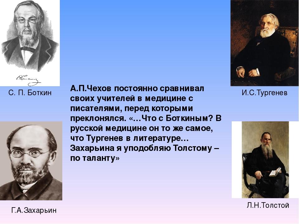 Г.А.Захарьин С. П. Боткин И.С.Тургенев Л.Н.Толстой А.П.Чехов постоянно сра...