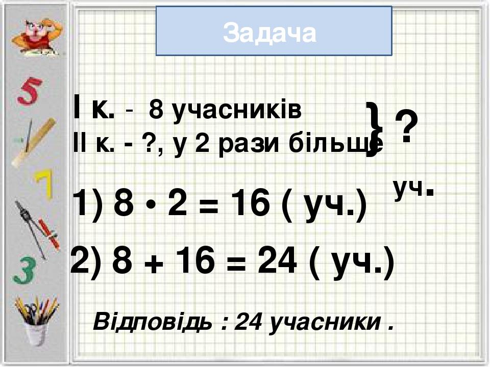 Задача І к. - 8 учасників ІІ к. - ?, у 2 рази більше } ? уч. 1) 8 • 2 = 16 (...