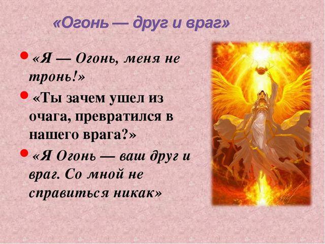 «Я — Огонь, меня не тронь!» «Ты зачем ушел из очага, превратился в нашего вра...