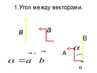 1.Угол между векторами. a в о A B