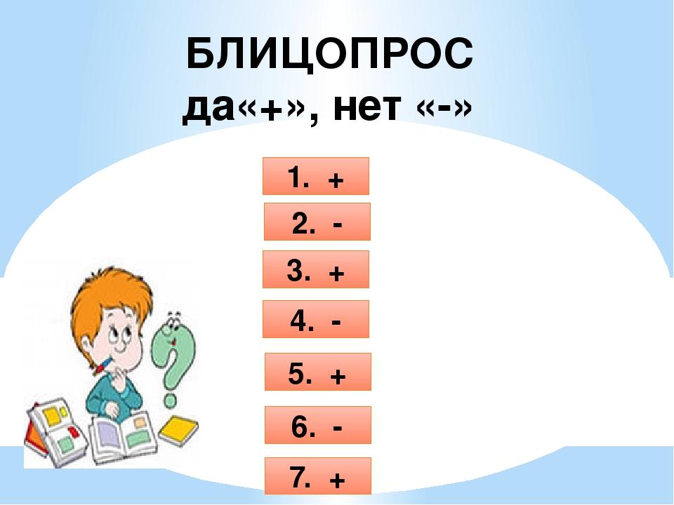 БЛИЦОПРОС да«+», нет «-» 1. + 2. - 3. + 4. - 5. + 6. - 7. +