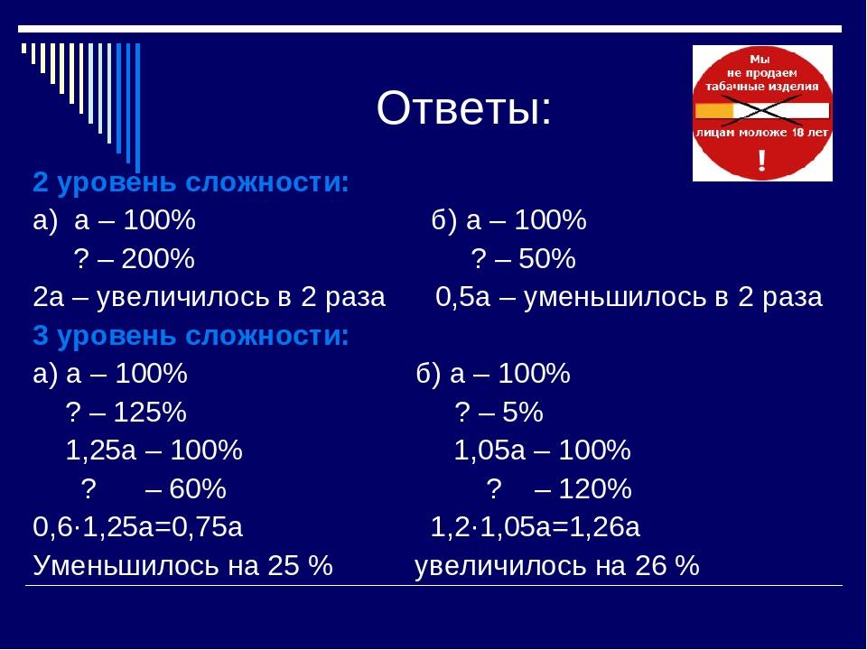 Ответы: 2 уровень сложности: а) а – 100% б) а – 100% ? – 200% ? – 50% 2а – у...
