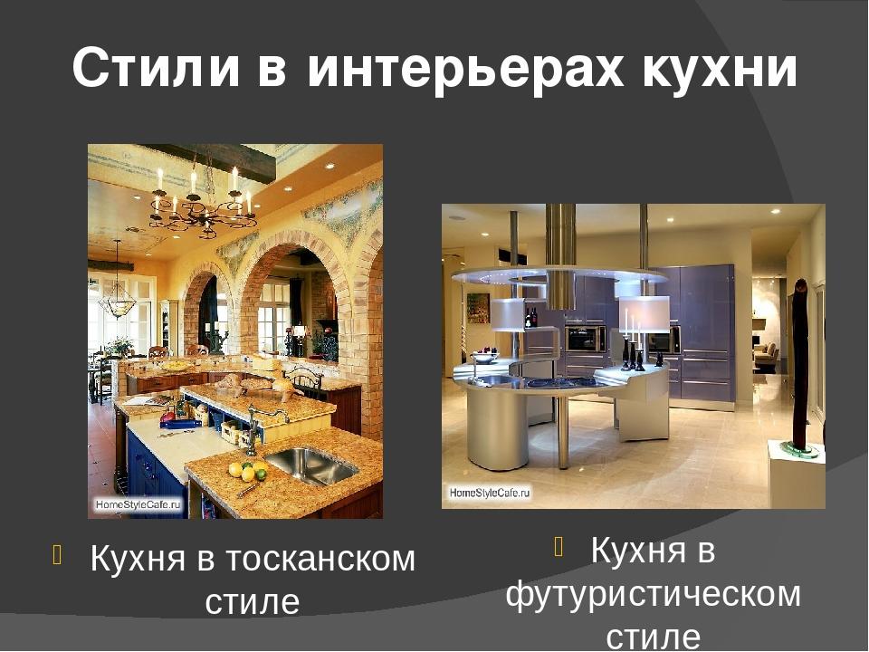 Стили в интерьерах кухни Кухня в тосканском стиле Кухня в футуристическом стиле