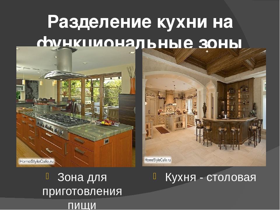 Разделение кухни на функциональные зоны Зона для приготовления пищи Кухня - с...