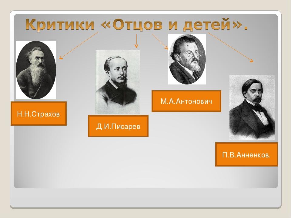 Н.Н.Страхов Д.И.Писарев М.А.Антонович П.В.Анненков.