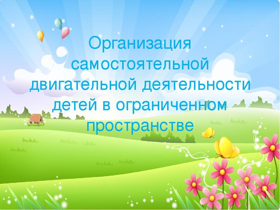 Организация самостоятельной двигательной деятельности детей в ограниченном пр...