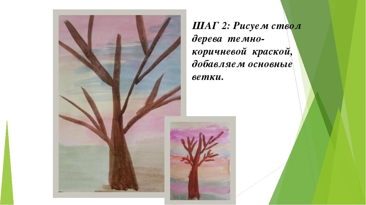 ШАГ 2: Рисуем ствол дерева темно-коричневой краской, добавляем основные ветки.