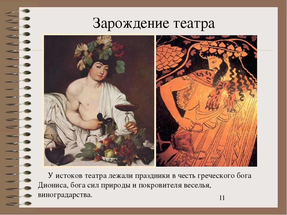 Зарождение театра У истоков театра лежали праздники в честь греческого бога Д...