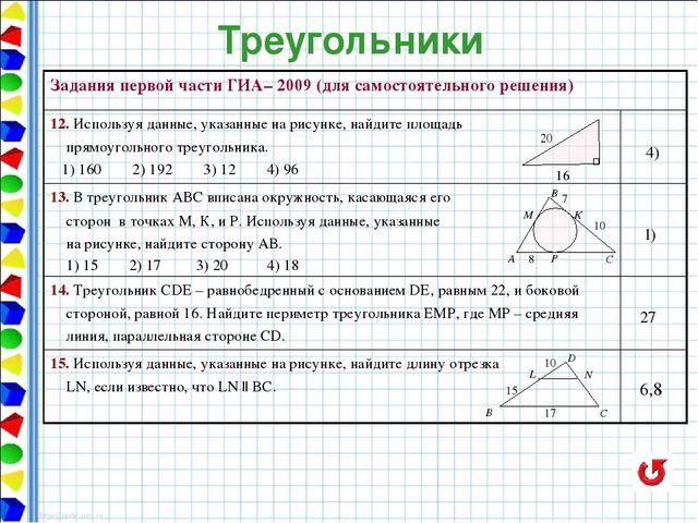 Задачи на решение треугольников гиа решение задач на неравенство треугольника