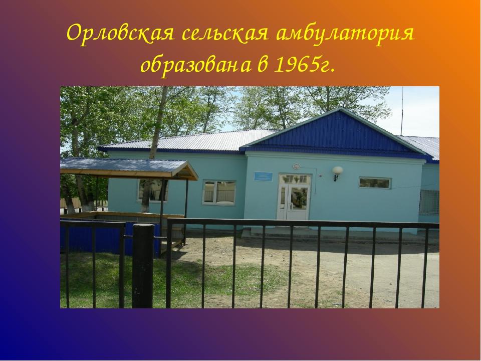 Орловская сельская амбулатория образована в 1965г.