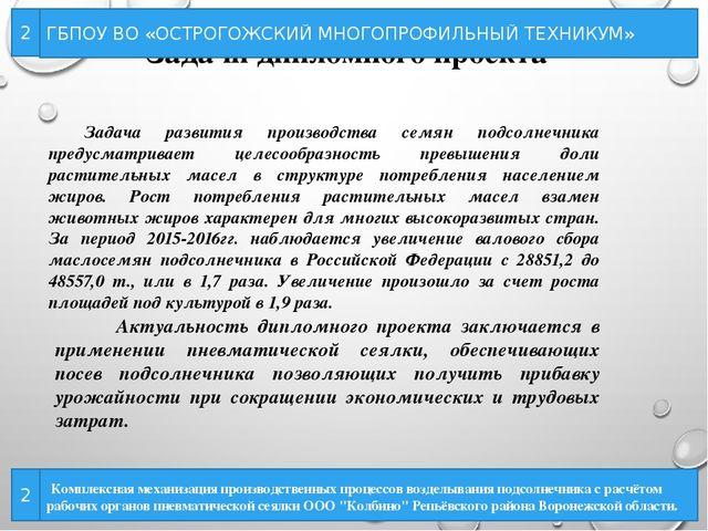 Образец презентации при защите диплома Задачи дипломного проекта ГБПОУ ВО ОСТРОГОЖСКИЙ МНОГОПРОФИЛЬНЫЙ ТЕХНИКУМ 2