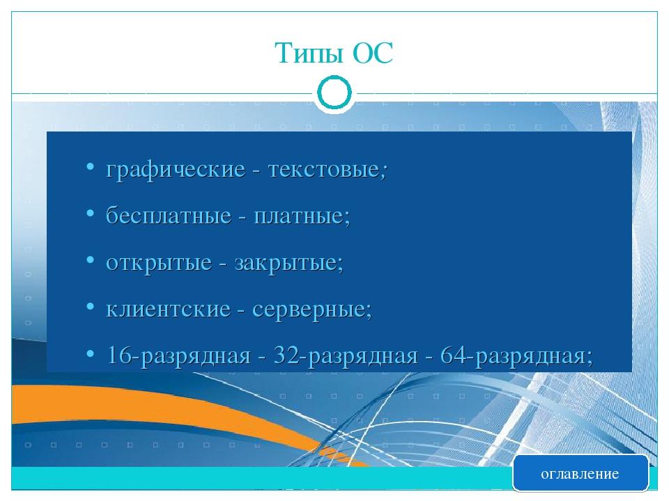 Типы ОС графические - текстовые; бесплатные - платные; открытые - закрытые; к...
