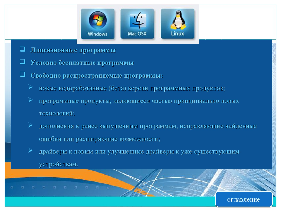 Лицензионные программы Условно бесплатные программы Свободно распространяемые...