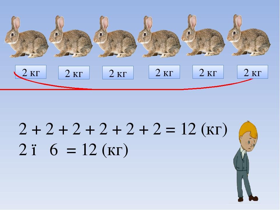 2 + 2 + 2 + 2 + 2 + 2 = 12 (кг) 2 ● 6 = 12 (кг) 2 кг 2 кг 2 кг 2 кг 2 кг 2 кг