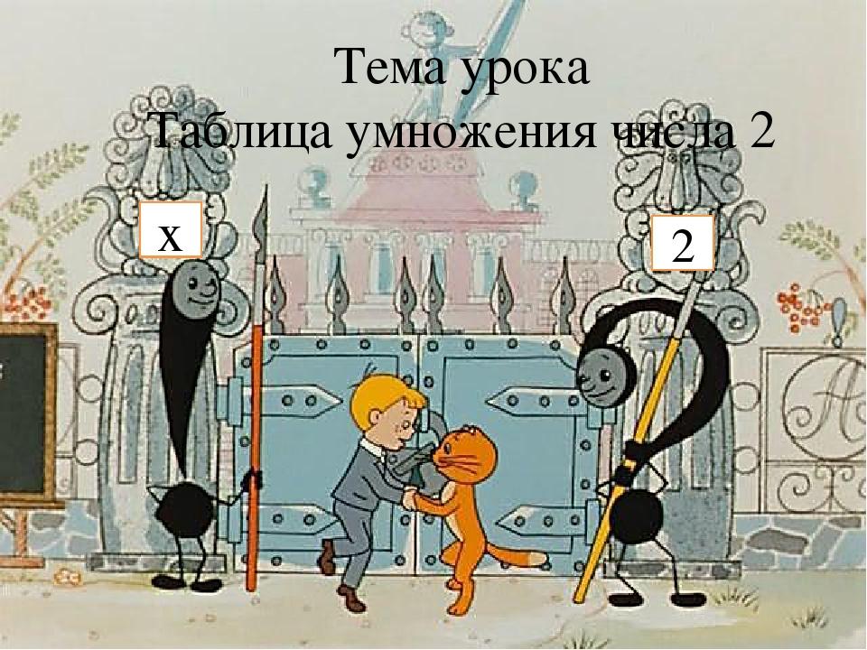 Тема урока Таблица умножения числа 2 х 2