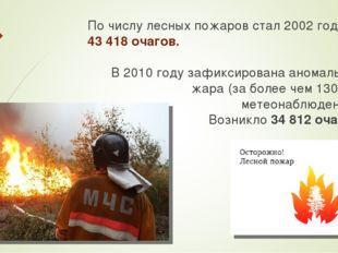 По числу лесных пожаров стал 2002 год – 43 418 очагов. В 2010 году зафиксиров