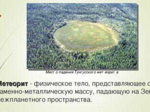 Место падения Тунгусского метеорита Метеорит - физическое тело, представляюще