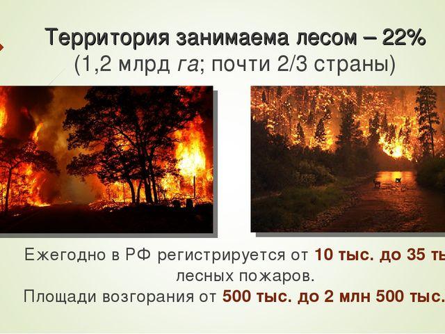Территория занимаема лесом – 22% (1,2 млрд га; почти 2/3 страны) Ежегодно в Р...