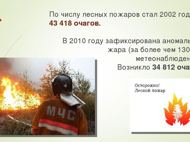 По числу лесных пожаров стал 2002 год – 43 418 очагов. В 2010 году зафиксиров...