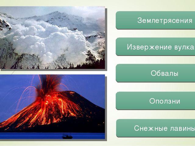 Землетрясения Обвалы Извержение вулкана Оползни Снежные лавины