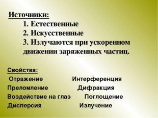 Источники: 1. Естественные 2. Искусственные 3. Излучаются при ускоренном движ