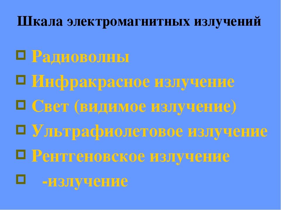 Радиоволны Инфракрасное излучение Свет (видимое излучение) Ультрафиолетовое и...