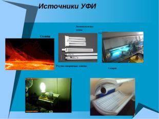 Источники УФИ Солнце Ртутно-кварцевые лампы Люминесцентные лампы Кварцевание