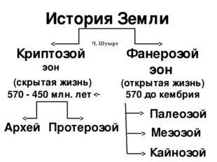 История Земли Ч. Шухерт Криптозой эон (скрытая жизнь) 570 - 450 млн. лет Фане