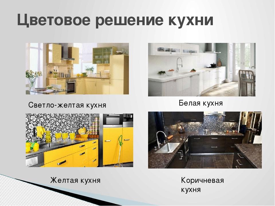 Цветовое решение кухни Светло-желтая кухня Белая кухня Желтая кухня Коричнева...