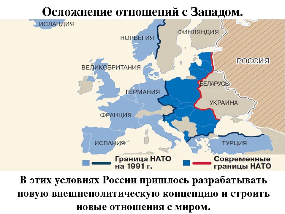 Осложнение отношений с Западом. В этих условиях России пришлось разрабатывать...