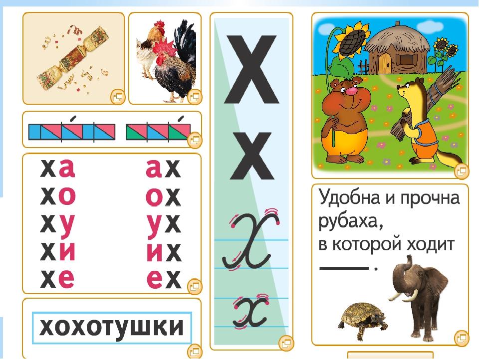 Буквы в картинках звук и буква х