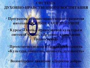 СИСТЕМА ДУХОВНО-НРАВСТВЕННОГО ВОСПИТАНИЯ Курсы «Основы православной культуры