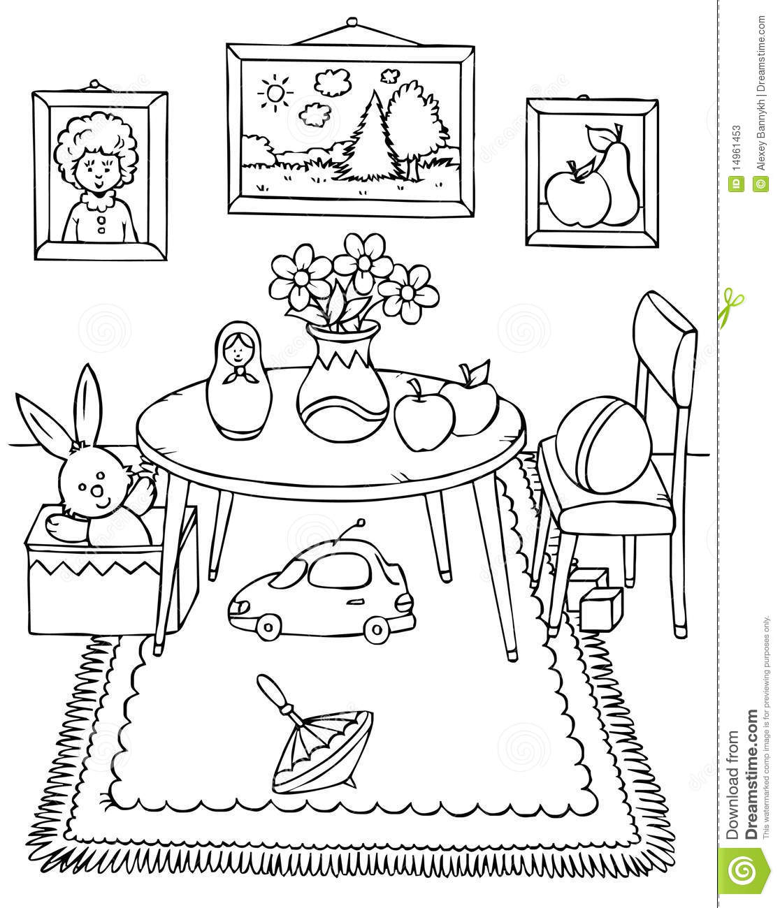 Coloring pages furniture - Coloring Page Living Room Img 25997 Edupicscom