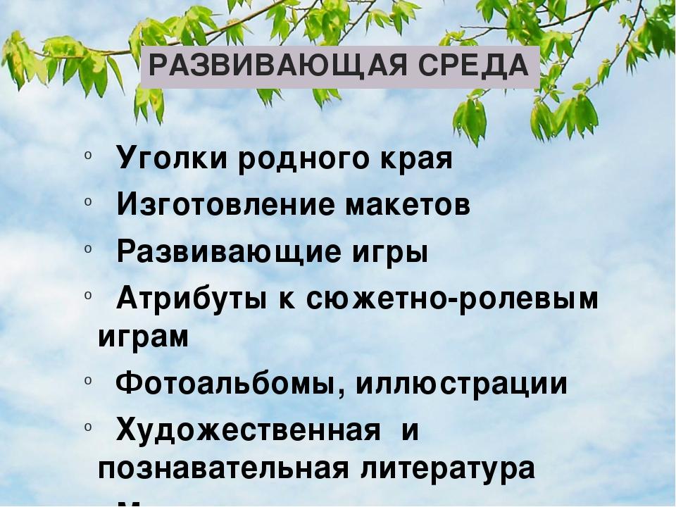 РАЗВИВАЮЩАЯ СРЕДА   Уголки родного края   Изготовление макетов    Развиваю...