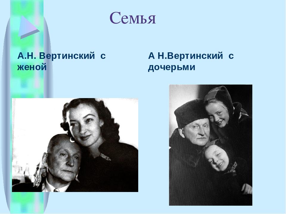 Семья А.Н. Вертинский с женой А Н.Вертинский с дочерьми