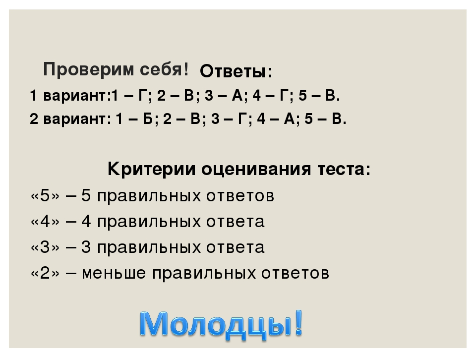 Проверим себя! Ответы: 1 вариант:1 – Г; 2 – В; 3 – А; 4 – Г; 5 – В. 2 вариант...