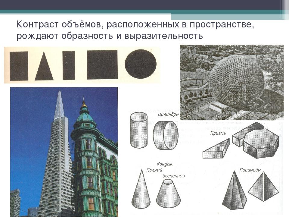 Контраст объёмов, расположенных в пространстве, рождают образность и выразите...