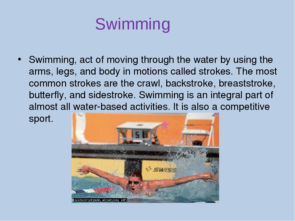 an introduction and an analysis of swimming the act of moving through the water by using your body Then charge your comb again by brushing it through your hair, and bring it close to the tiny pieces of tissue if the pieces are small enough they will jump off the table to the comb the same way that the water was pulled to the combit is all thanks to the wonders of static electricity.