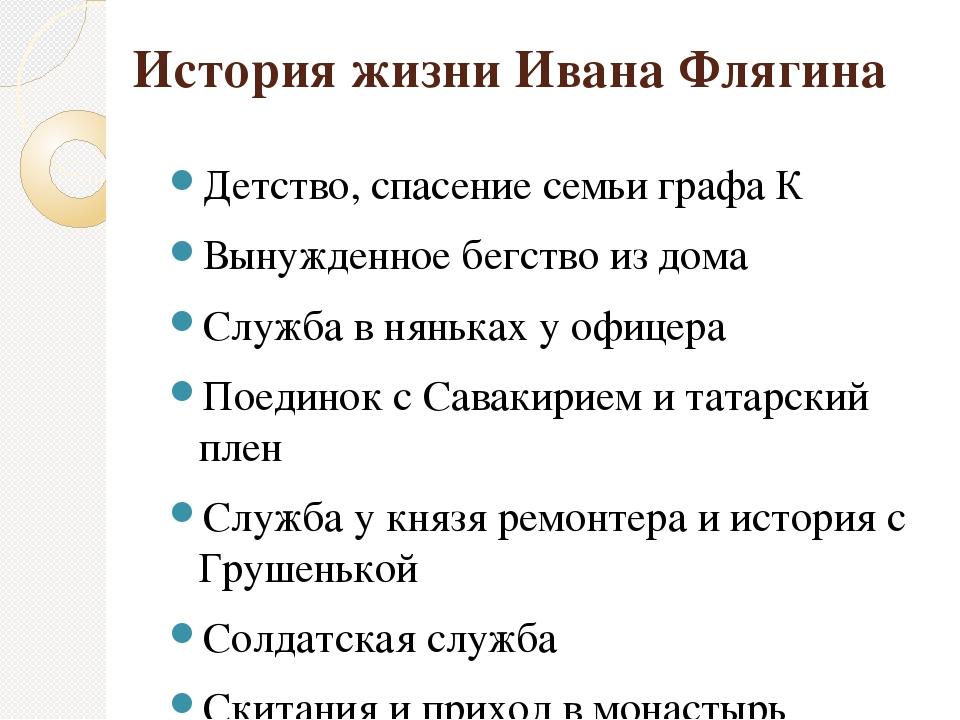 История жизни Ивана Флягина Детство, спасение семьи графа К Вынужденное бегст...
