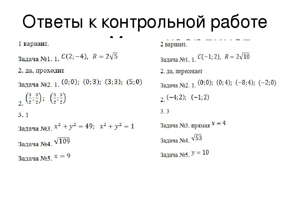 Контрольная работа номер 1 метод координат 257