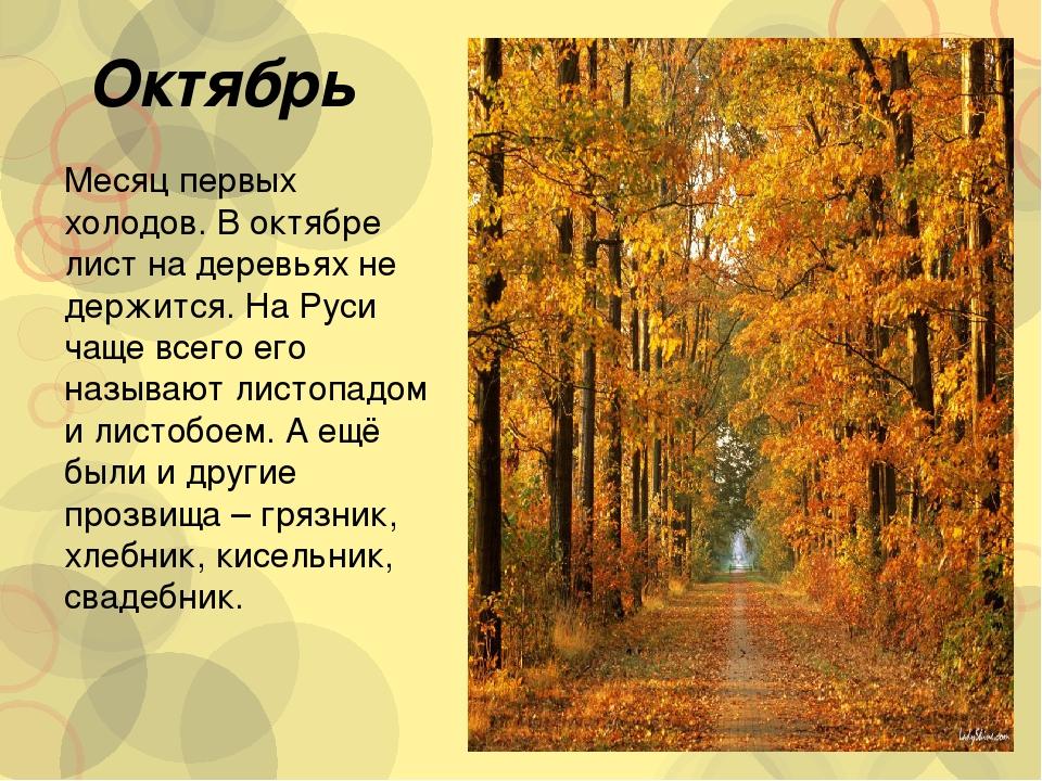 Знакомства с месяцам октябрь