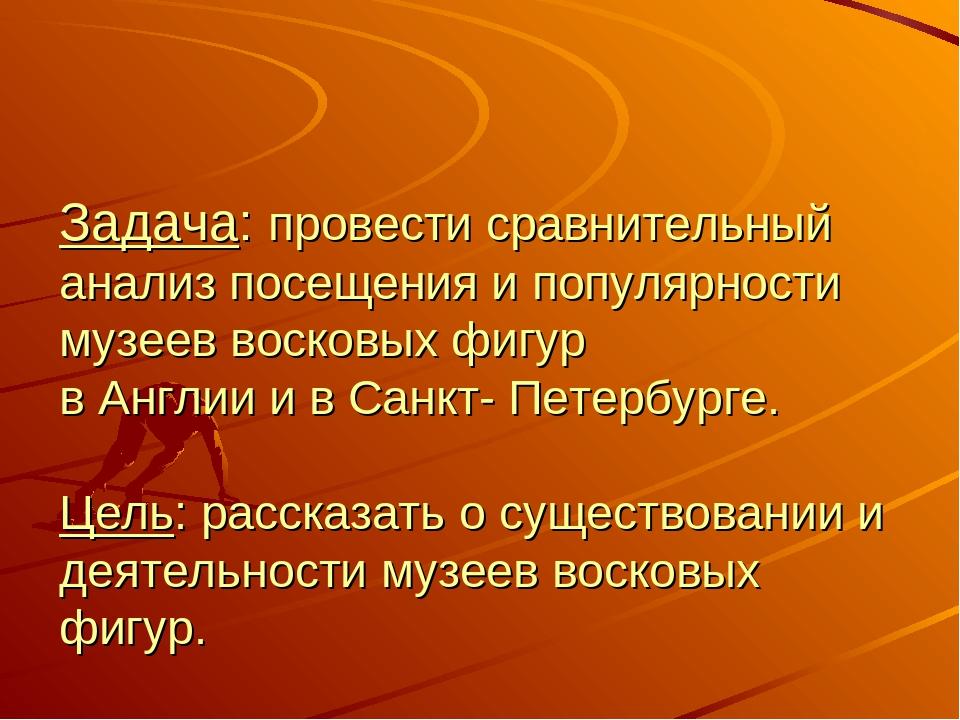 Задача: провести сравнительный анализ посещения и популярности музеев восков...