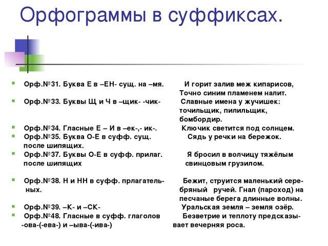 Орфограммы 6-7 класс