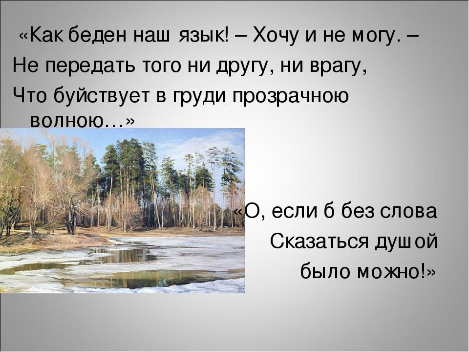 «Как беден наш язык! – Хочу и не могу. – Не передать того ни другу, ни врагу...