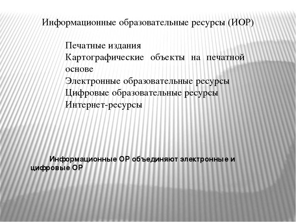 Информационные образовательные ресурсы (ИОР) Печатные издания Картографически...
