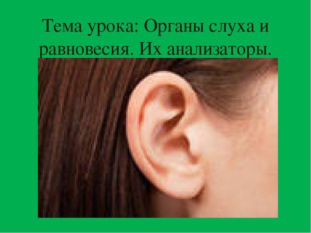 Тема урока: Органы слуха и равновесия. Их анализаторы.