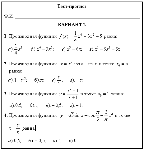 Производная и ее применение контрольная работа решение 4176