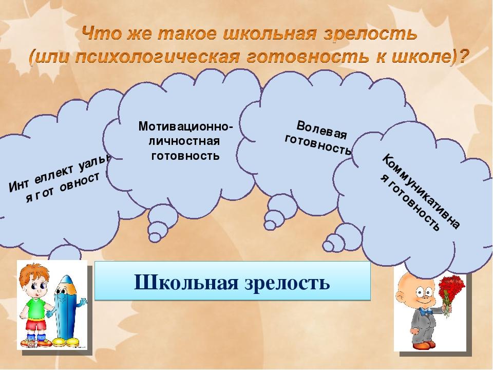 Школьная зрелость Интеллектуальная готовность Мотивационно-личностная готовн...
