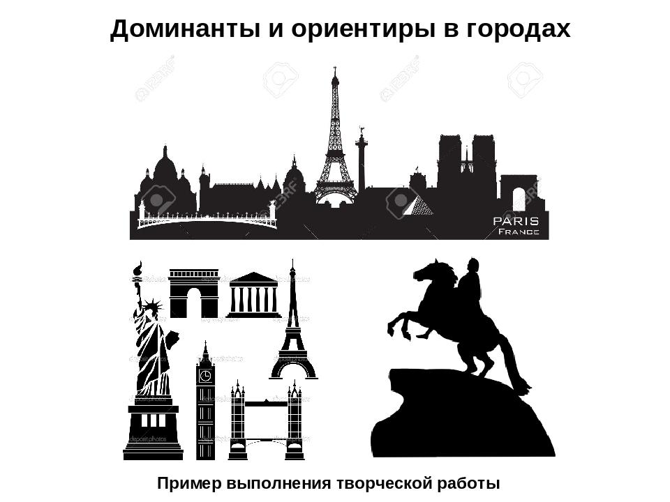 Пример выполнения творческой работы Доминанты и ориентиры в городах